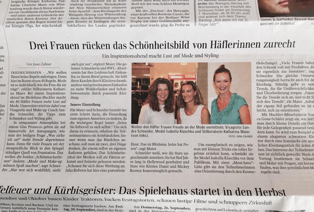 Mode muss Spaß machen, Schwäbische Zeitung, September 2013