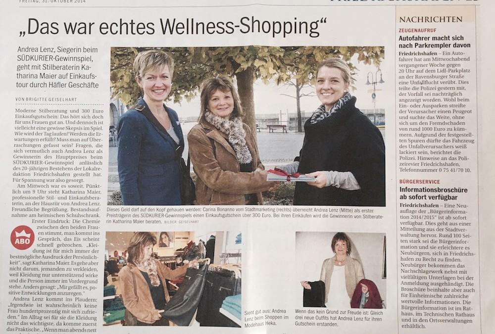 Das war echtes Wellness-Shopping, Südkurier, Oktober 2014